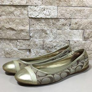 Coach Flats Shoes Ballet Flat Size 6 Gold Cecile